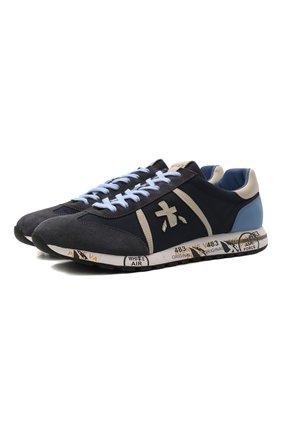 Комбинированные кроссовки на шнуровке Premiata темно-синие | Фото №1