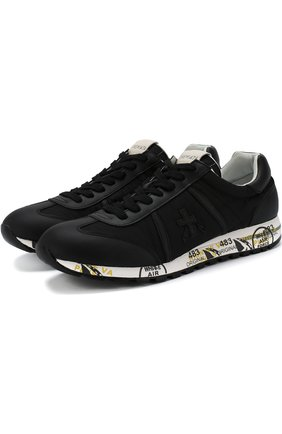 Комбинированные кроссовки на шнуровке Premiata черные | Фото №1