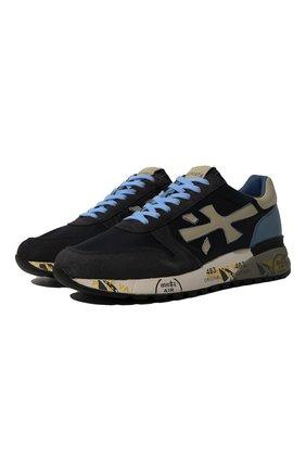 Комбинированные кроссовки на подошве с принтом Premiata синие | Фото №1