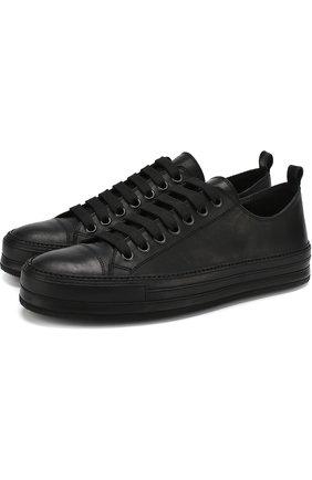 Кожаные кеды на шнуровке Ann Demeulemeester черные | Фото №1