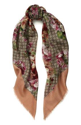 Женская палантин из смеси вискозы и шелка gg blooms GUCCI розового цвета, арт. 417424/3G856 | Фото 1