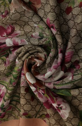 Палантин из смеси вискозы и шелка GG Blooms | Фото №2