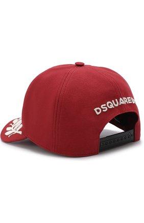 Хлопковая бейсболка с вышивкой Dsquared2 красного цвета | Фото №2