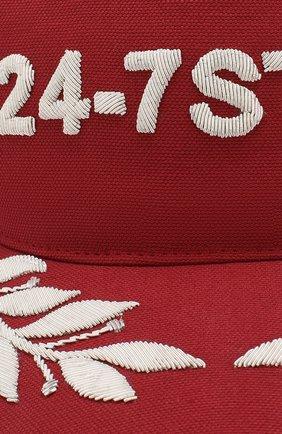 Хлопковая бейсболка с вышивкой Dsquared2 красного цвета | Фото №3