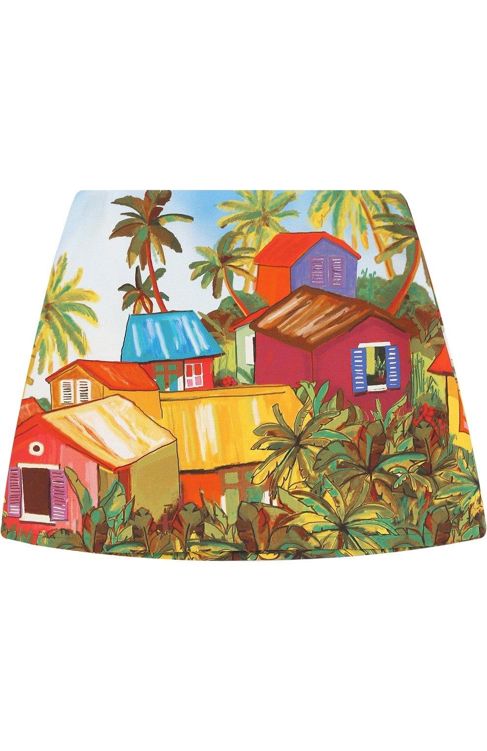 Хлопковая мини-юбка с принтом   Фото №1
