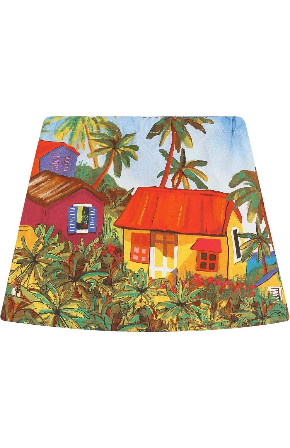Хлопковая мини-юбка с принтом   Фото №2
