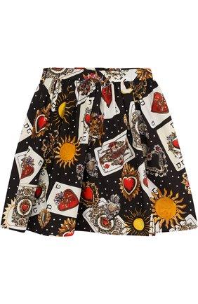 Хлопковая юбка свободного кроя с принтом | Фото №2