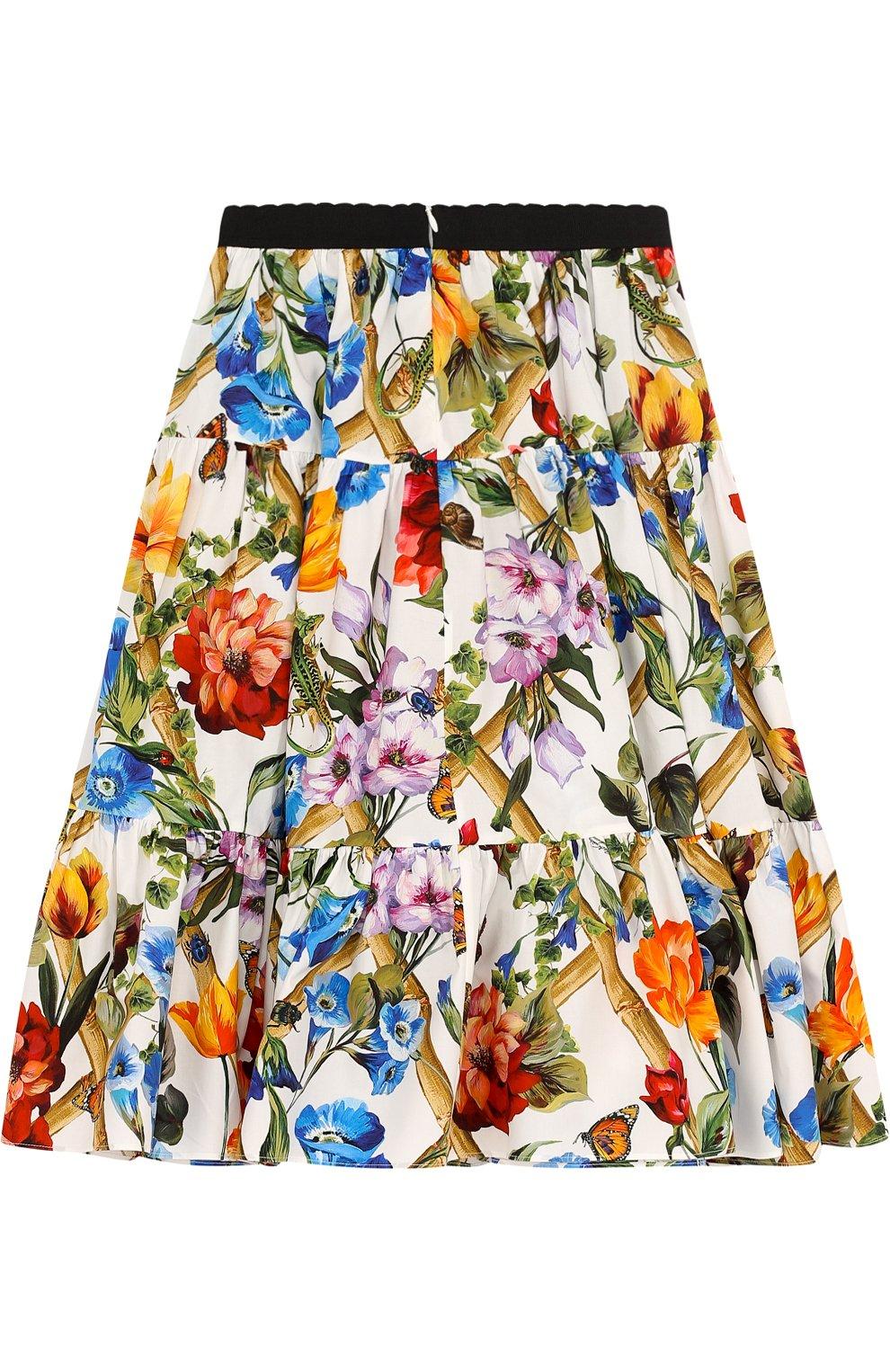 Хлопковая юбка свободного кроя с принтом и эластичным поясом   Фото №2