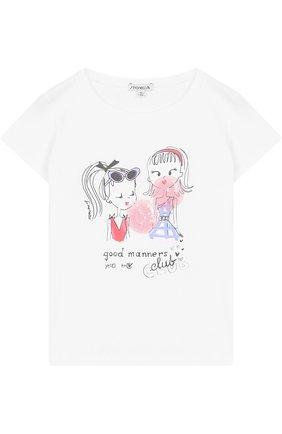 Хлопковая футболка с принтом и пайетками | Фото №1