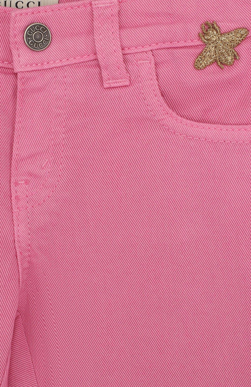Детские зауженные джинсы GUCCI фуксия цвета, арт. 499967/XR976 | Фото 3