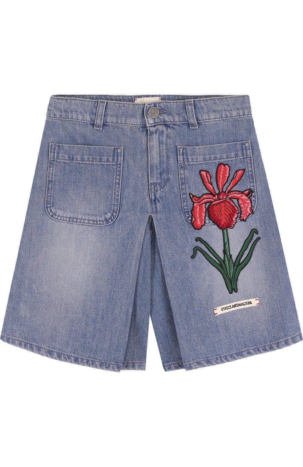 Джинсовая юбка-шорты с вышивкой | Фото №1