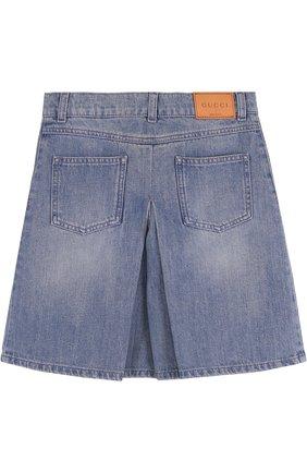 Джинсовая юбка-шорты с вышивкой | Фото №2