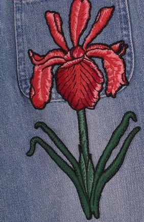 Джинсовая юбка-шорты с вышивкой | Фото №3