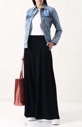Широкие шерстяные брюки с защипами и завышенной талией Molli темно-синие | Фото №1
