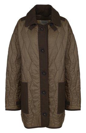 Стеганая куртка свободного кроя Yves Salomon хаки | Фото №1