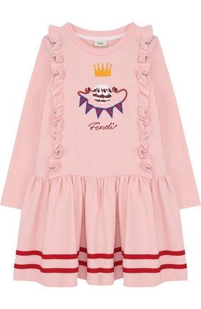 Хлопковое платье с оборками и контрастной вышивкой | Фото №1