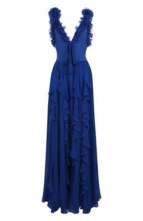 Приталенное шелковое платье-макси с оборками Elie Saab синее | Фото №1