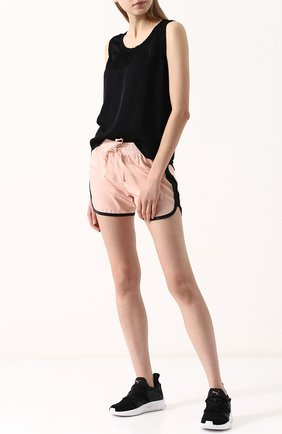 Хлопковые мини-шорты с эластичным поясом Deha розовые | Фото №1