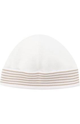Детского хлопковая шапка с контрастной отделкой LORO PIANA бежевого цвета, арт. FAG3948 | Фото 2