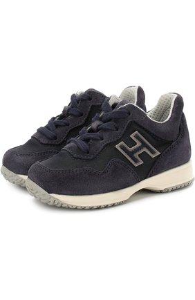 Замшевые кроссовки на шнуровке с молнией | Фото №1