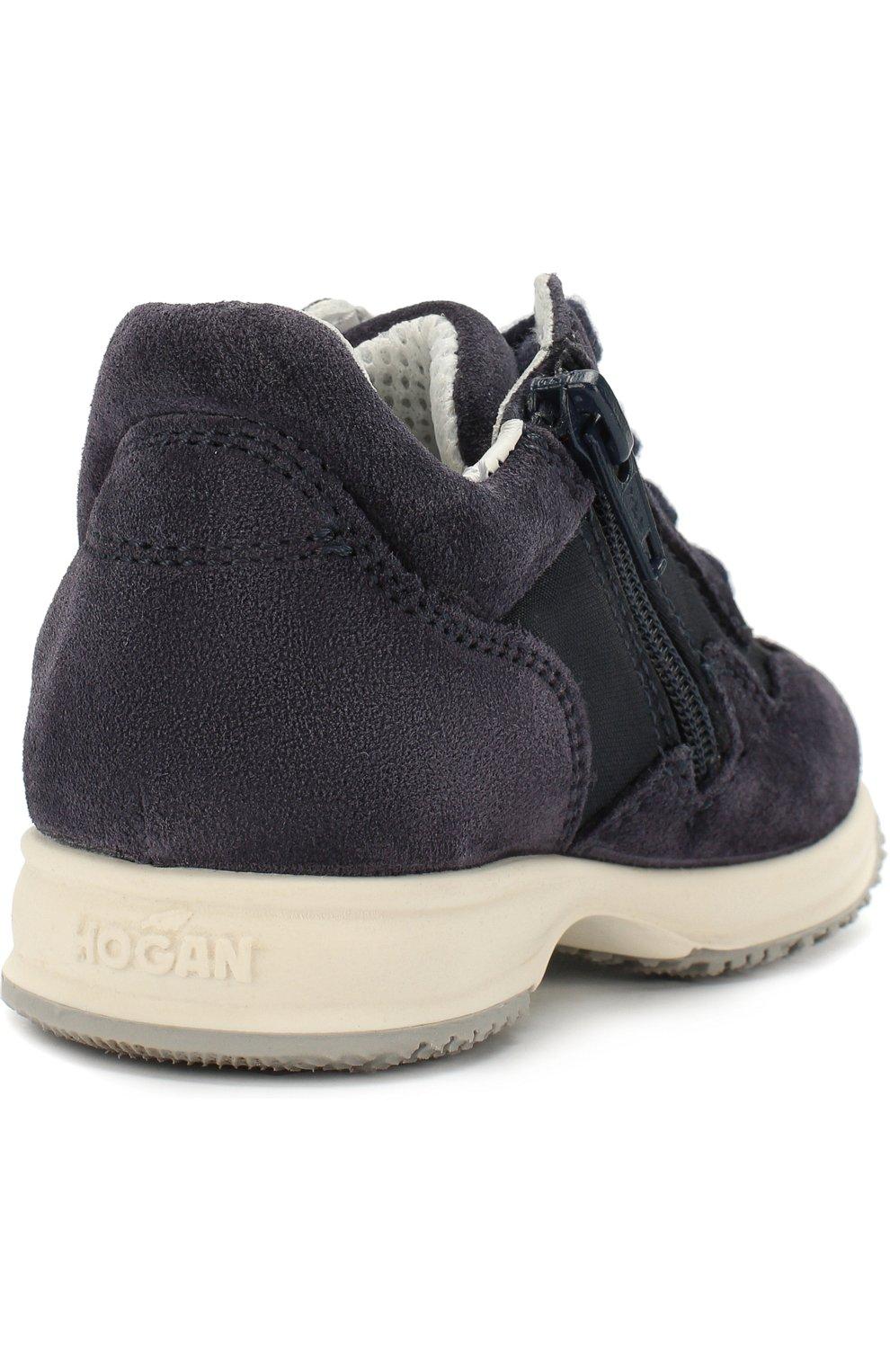 Замшевые кроссовки на шнуровке с молнией | Фото №3