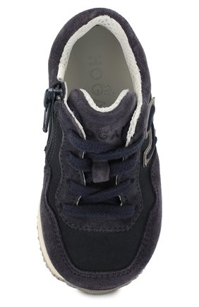 Замшевые кроссовки на шнуровке с молнией | Фото №4