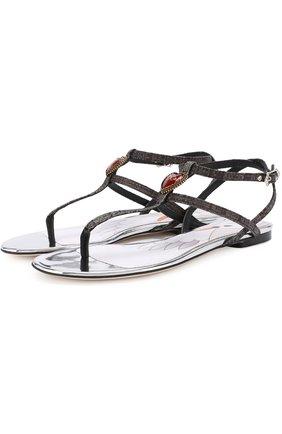 Текстильные сандалии с брошью | Фото №1