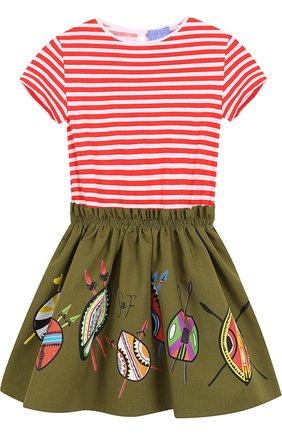 Хлопковое платье с эластичным поясом и ярким принтом | Фото №1