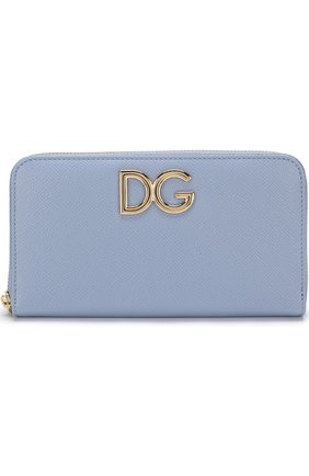 Женские кожаный кошелек на молнии DOLCE & GABBANA голубого цвета, арт. BI0473/AH338 | Фото 1