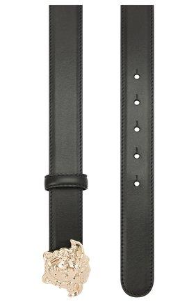 Женский кожаный ремень с фигурной металлической пряжкой VERSACE черного цвета, арт. DCDD442/DVT2 | Фото 2 (Статус проверки: Проверена категория)