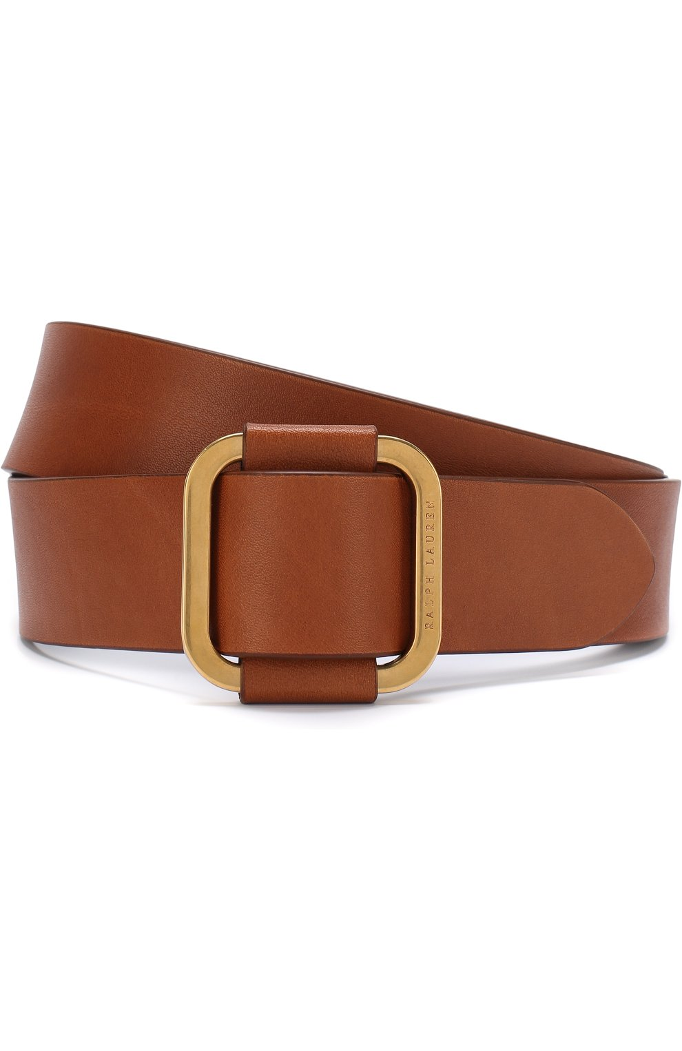 Мужской кожаный ремень с металлической пряжкой RALPH LAUREN коричневого цвета, арт. 404692769   Фото 1