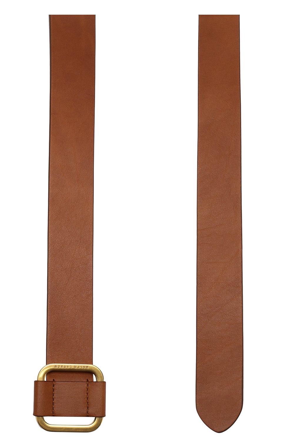 Мужской кожаный ремень с металлической пряжкой RALPH LAUREN коричневого цвета, арт. 404692769   Фото 2