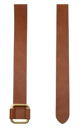 Мужской кожаный ремень с металлической пряжкой RALPH LAUREN коричневого цвета, арт. 404692769 | Фото 2