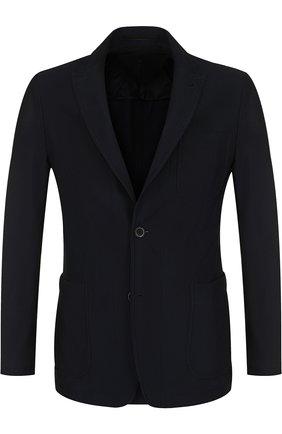 Мужской однобортный пиджак с остроконечными лацканами GIORGIO ARMANI темно-синего цвета, арт. WSG11W/WS950 | Фото 1