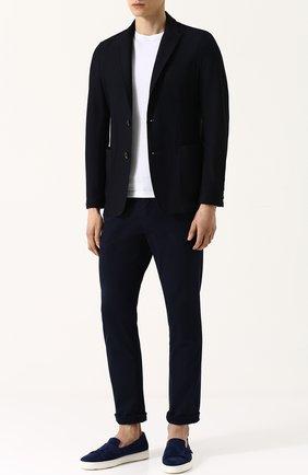 Мужской однобортный пиджак с остроконечными лацканами GIORGIO ARMANI темно-синего цвета, арт. WSG11W/WS950 | Фото 2