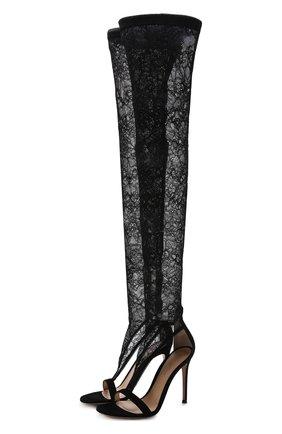 Кружевные ботфорты Isabella на шпильке | Фото №1
