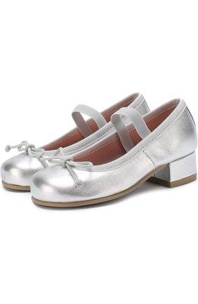 Детские туфли из металлизированной кожи с бантами и перемычкой Pretty Ballerinas серебряного цвета   Фото №1