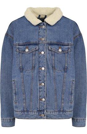 Джинсовая куртка с декорированной спинкой и контрастным воротником Dalood синяя   Фото №1