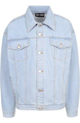 Джинсовая куртка с потертостями и декорированной спинкой   Фото №1