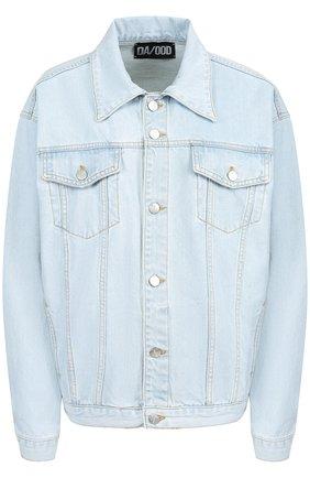 Джинсовая куртка свободного кроя с декорированной спинкой Dalood голубая   Фото №1