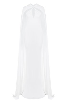 Женское бархатное платье-макси с кейпом DSQUARED2 белого цвета, арт. S75CU0670/S22679 | Фото 1