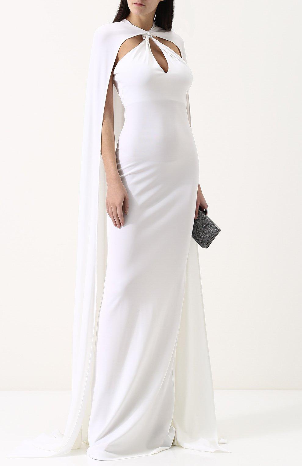 Женское бархатное платье-макси с кейпом DSQUARED2 белого цвета, арт. S75CU0670/S22679 | Фото 2