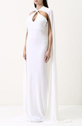 Женское бархатное платье-макси с кейпом DSQUARED2 белого цвета, арт. S75CU0670/S22679 | Фото 3