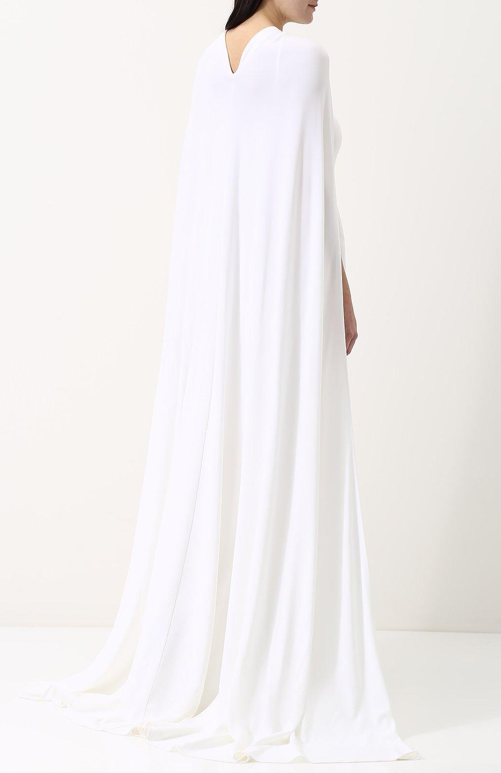 Женское бархатное платье-макси с кейпом DSQUARED2 белого цвета, арт. S75CU0670/S22679 | Фото 4