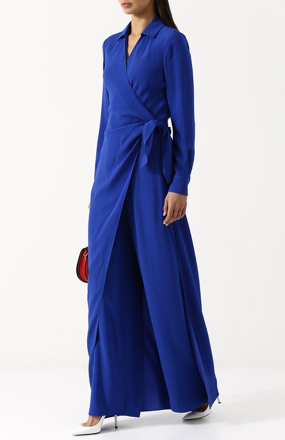 Женский однотонный приталенный комбинезон из вискозы RALPH LAUREN синего цвета, арт. 290707925   Фото 2