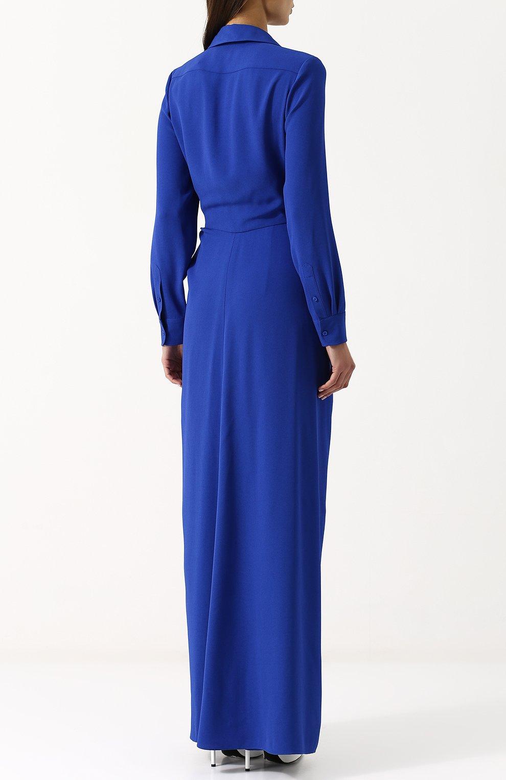 Женский однотонный приталенный комбинезон из вискозы RALPH LAUREN синего цвета, арт. 290707925   Фото 4