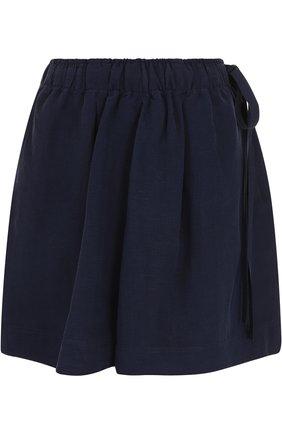 Мини-шорты из смеси льна и шелка с кожаной отделкой J.W. Anderson синие   Фото №1