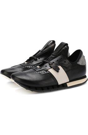Кожаные кроссовки без шнуровки Artselab черные   Фото №1