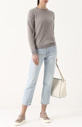 Однотонный кашемировый пуловер с круглым вырезом Alexandra Golovanoff серый | Фото №1