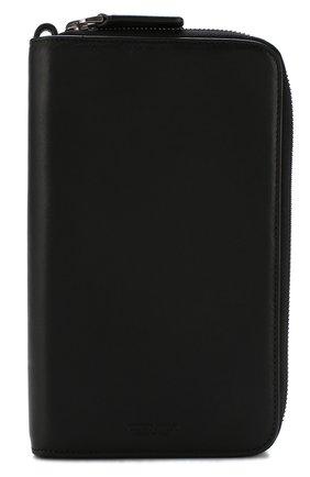 Мужская кожаный футляр для документов с двумя отделениями на молнии GIORGIO ARMANI черного цвета, арт. Y2R141/YDH6J | Фото 1